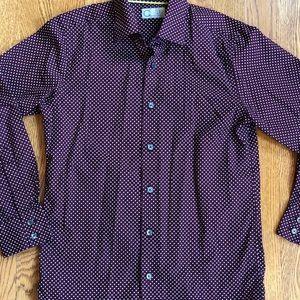 1e9d7864a C2 by Calibrate Shirts & Tops - Boys' button down dress shirt burgundy  polka dots